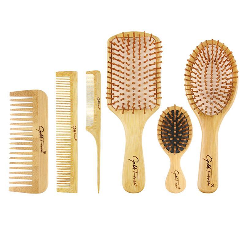 1 комплект, Бамбуковая Расческа для массажа, набор профессиональных щеток для волос, расческа для массажа волос, набор инструментов для укла...