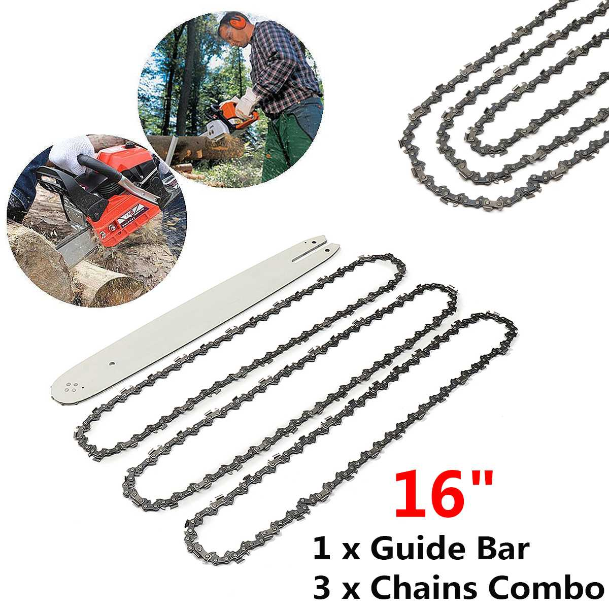 4Pcs Set 16 Inch 3 8LP 050inch Chain Saw Guide Bar With 3pcs Chains For STIHL 009 012 021 E180 MS180 MS190 MS250 HT70