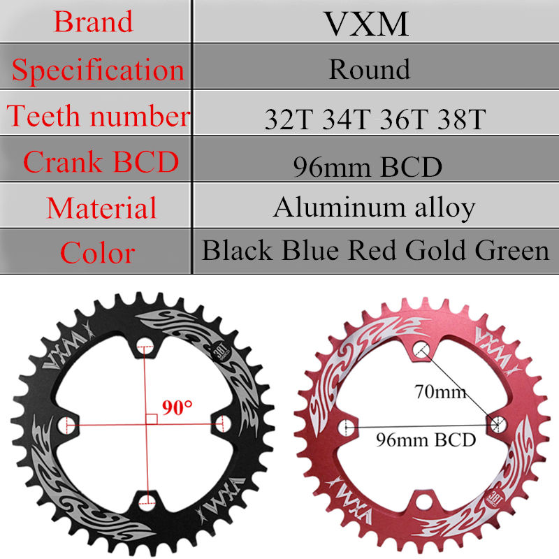 VXM-Bicycle-Crank-Chainwheel-96BCD-32T-34T-36T-38T-Round-Narrow-Wide-Chain-ring-MTB-Road