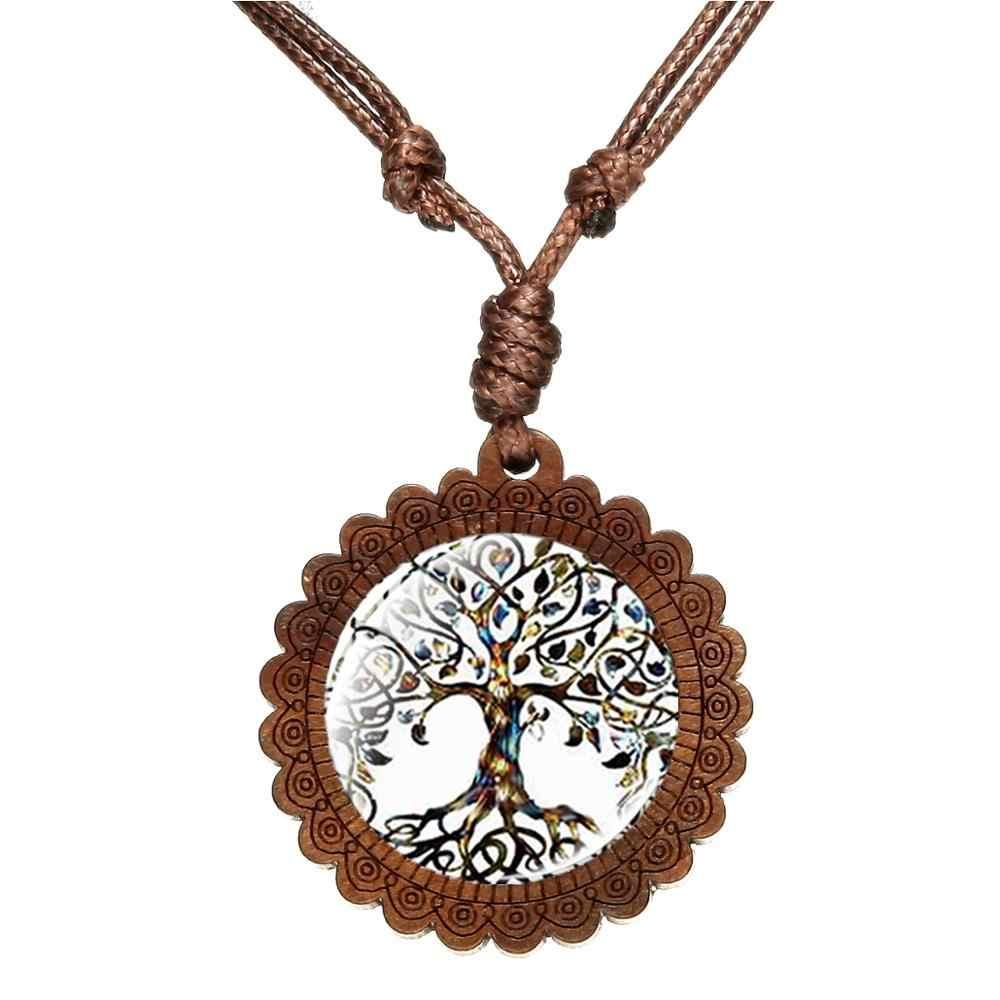 SONGDA nowe drzewo życia oświadczenie naszyjnik Art Photo szkło Cabochon drewniany naszyjnik mądrość drzewo Choker kobiet powodzenia biżuteria