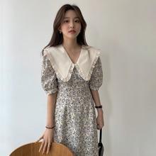 2021 New Women Summer Elegant Beige Long Floral Dress Sashes Slim Fit Peter Pan Collar A-line Pullover Maxi Sundress