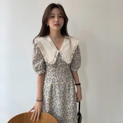 M-4XL Women Summer Elegant Beige Long Floral Dress Sashes 2021 Plus Size Slim Fit Peter Pan Collar A-line Pullover Maxi Sundress