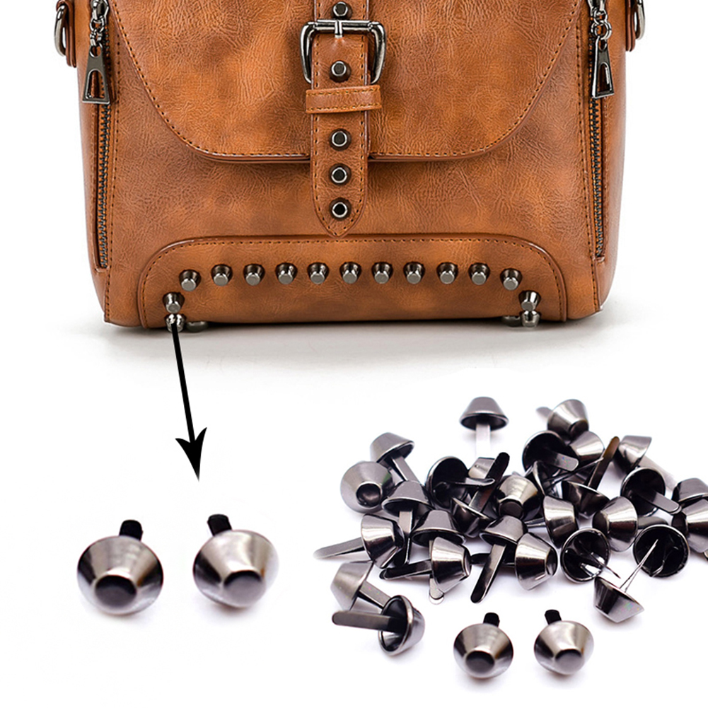 100pcs/lot 12mm Flat Purse Handbag Feet Nailhead Stud Spike Bronze DIY Metal Cone Studs Leather Craft Free Shipping