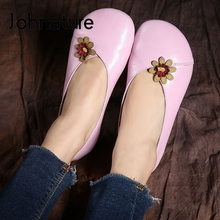 Shoes Flower Flats Women Johnature Spring Round-Toe Comfortable Genuine-Leather Casual