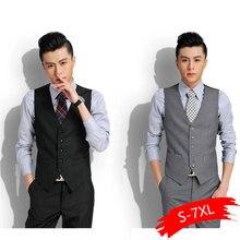 Новое свадебное платье высококачественные товары хлопок мужской модный дизайн костюм жилет/серый черный Высококачественный мужской деловой повседневный костюм жилет