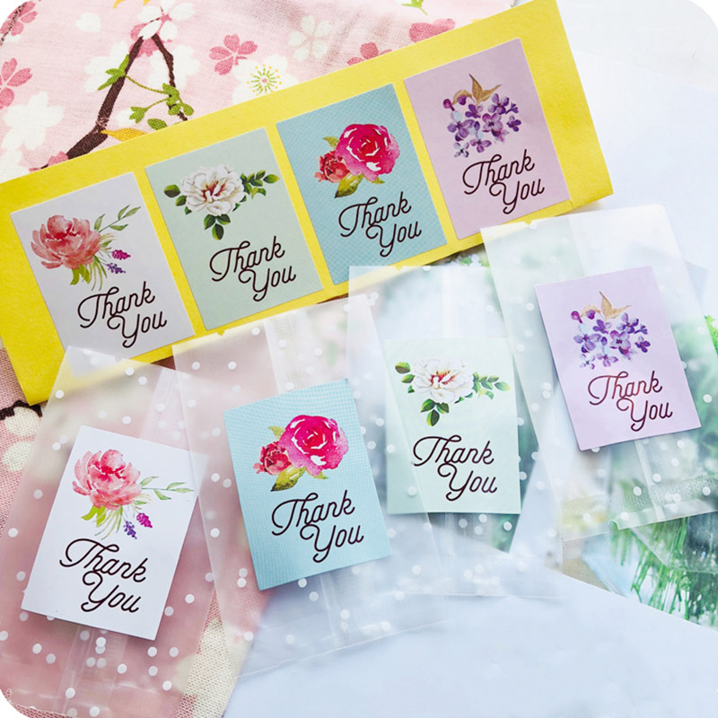 5Sheets=40Pcs Sealing Label Stickers Thank You Adhesive Stickers Handmade Paper Stickers For Gifts Girls Flower Stickers