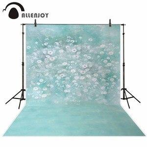 Image 2 - Allenjoy wiosna malarstwo fotografia tło niebieskie jezioro kwiat biały zdjęcie tło noworodka photocall winylu photophone