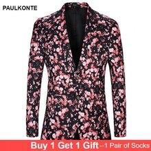 PAULKONTE Men Print Prom Performance Suit Clothing 2019 New Luxury Single Suits Slim Fit Business Dress Classic Mens
