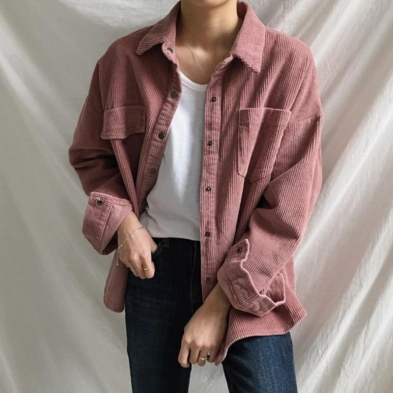 Vintage Corduroy Shirt Women Asymmetrical Pockets New Korean Blouse Femme Loose All-match Boyfriend BF Style Woman Shirts Casual