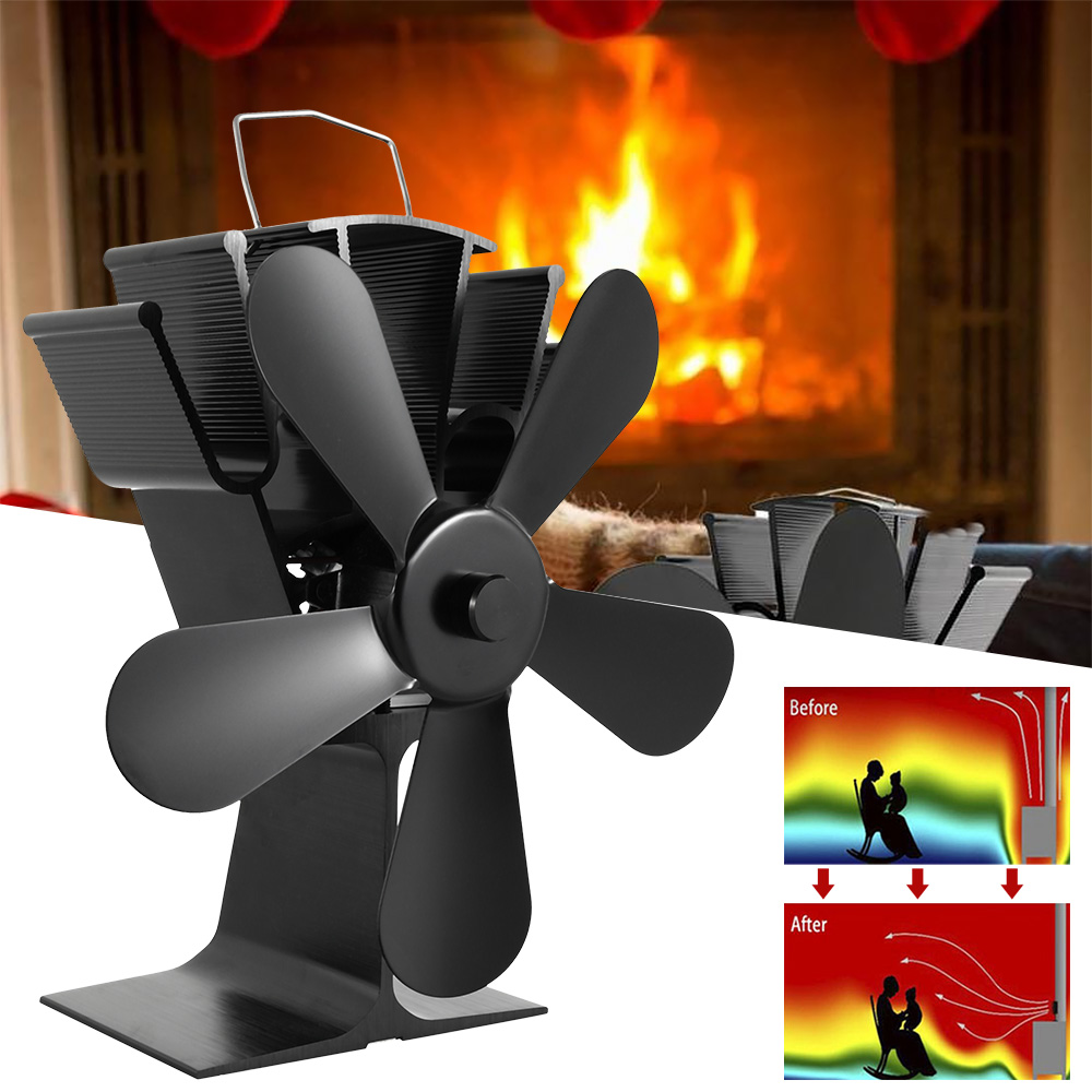 Black Fireplace 5 Blade Heat Powered Stove Fan Komin Log Wood Burner Eco Friendly Quiet Fan Home Efficient Heat Distribution