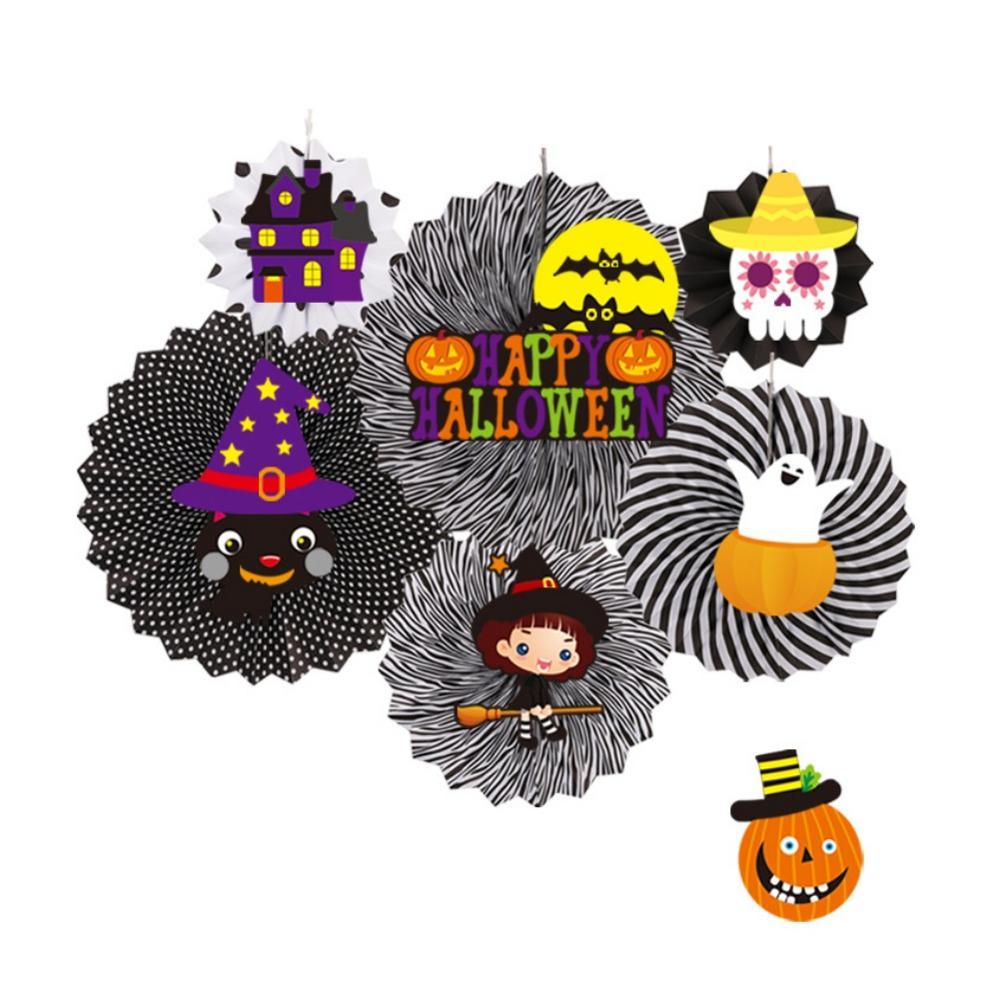 6 pièces Halloween à la main papier ventilateur décorations bricolage rond papier ventilateur fleur fête ornement fête décoration accessoires pour la maison - 2