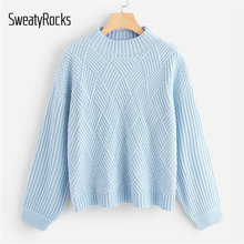 SweatyRocks azul geométrico frontal Rib Knit Sweater Stand Collar suéter Streetwear 2019 otoño mujeres Casual suéteres sólidos(China)