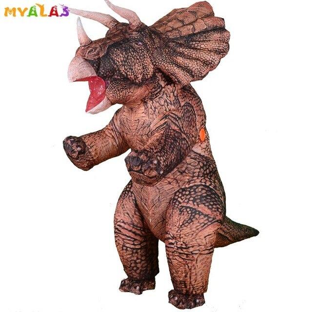 מתנפח דינוזאור T REX ליל כל הקדושים תחפושות למבוגרים ילדים נשים גברים פיצוץ טריצרטופס מלא גוף קרנבל קוספליי מסיבת קמע