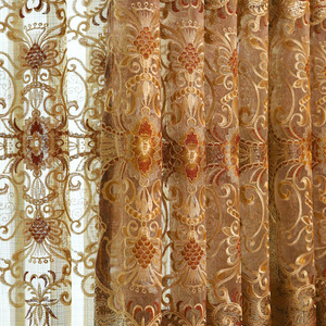 Cortinas bordadas de tela Jacquard para ventana, cortinas para sala de estar y dormitorio, color dorado, europeo