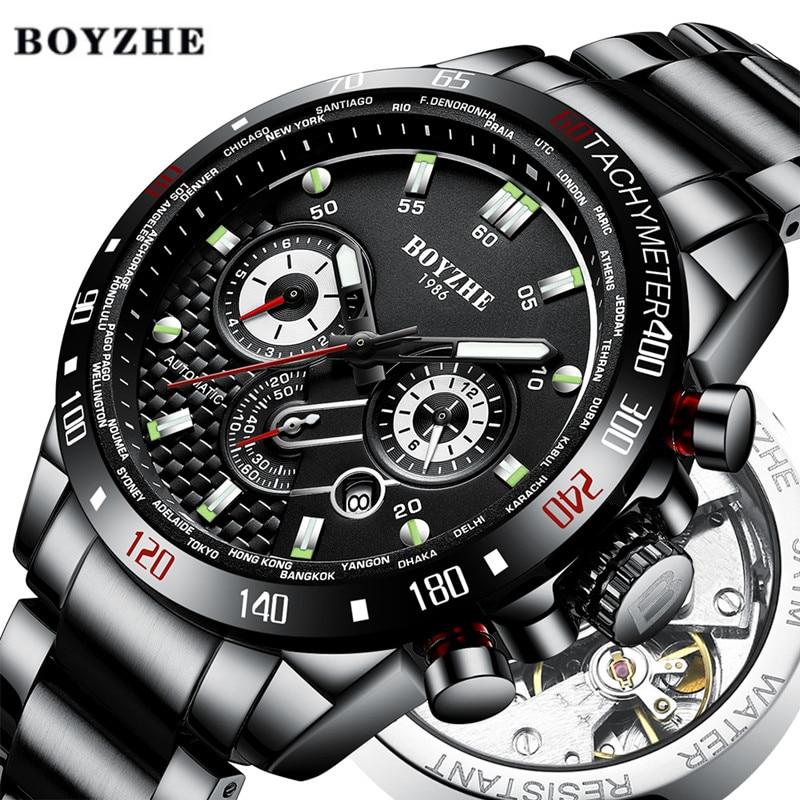 men Automatic Self-Wind Luminous watch Stainless Steel  Waterproof Sport mechanical watches mens 3D Dial  Multifunction  reloj