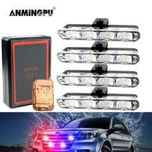 ANMINGPU 4IN1 12V Grille LED Stroboscopes Light for Car Emergency Fso Flash Police Light