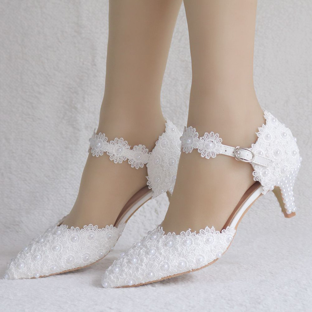 Women Shoes Women's Flowers Crystal Wedding Pointed Toe Thin Sandals Shoes High Heel Shoes White Lace Sweet Party Shoes