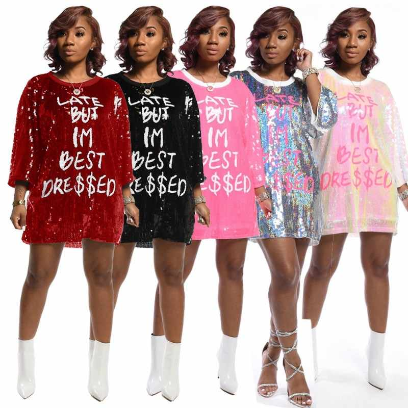 2020 Women Loose Dress Sequined Glitter Bling Long Sleeves O Neck Evening Party Casual Mini Dress Elegant Streetwear Vestidos