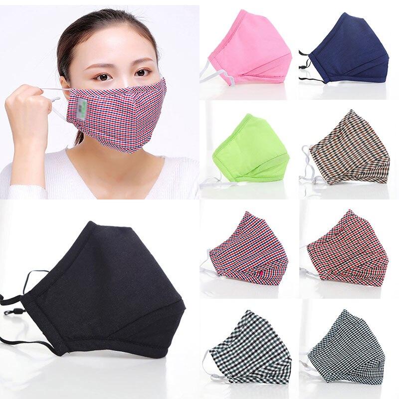 Противозагрязняющая маска для рта, хлопковая клетчатая маска для рта, моющиеся многоразовые маски, унисекс, воздухопроницаемая Ветрозащитная маска для лица|Женские маски|Аксессуары для одежды - AliExpress