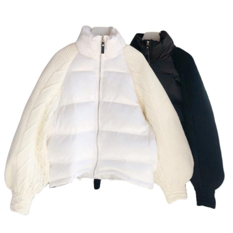 Short   Down   Jackets Woman Splicing With Sweater Sleeve Bat Type Womens Tops And Blouses Harajuku Kawaii Winter Loose   Coat   Women