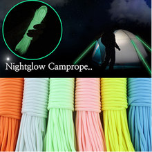 Dia 6MM 5 KN 7 Cores Luminous reflection paracord 50FT 100FT for Survival Parachute Tent Rope Climbing Camping Rope Hiking
