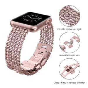 Image 4 - Toyouths עבור אפל להקת שעון iWatch נשים רשת לולאה נירוסטה החלפת מתכת יופי רצועת 38/40mm 42 /44mm