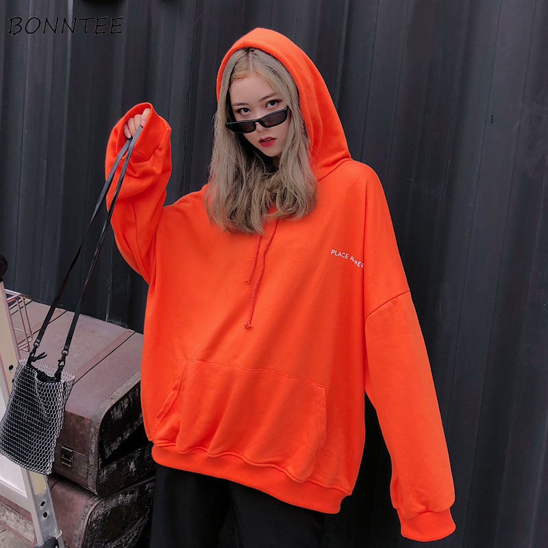 Hoodies Women Casual Harajuku Letter Print Chic Pocket Loose Simple Hip Hop Long Sleeve Sweatshirt Womens Ulzzang Korean Soft