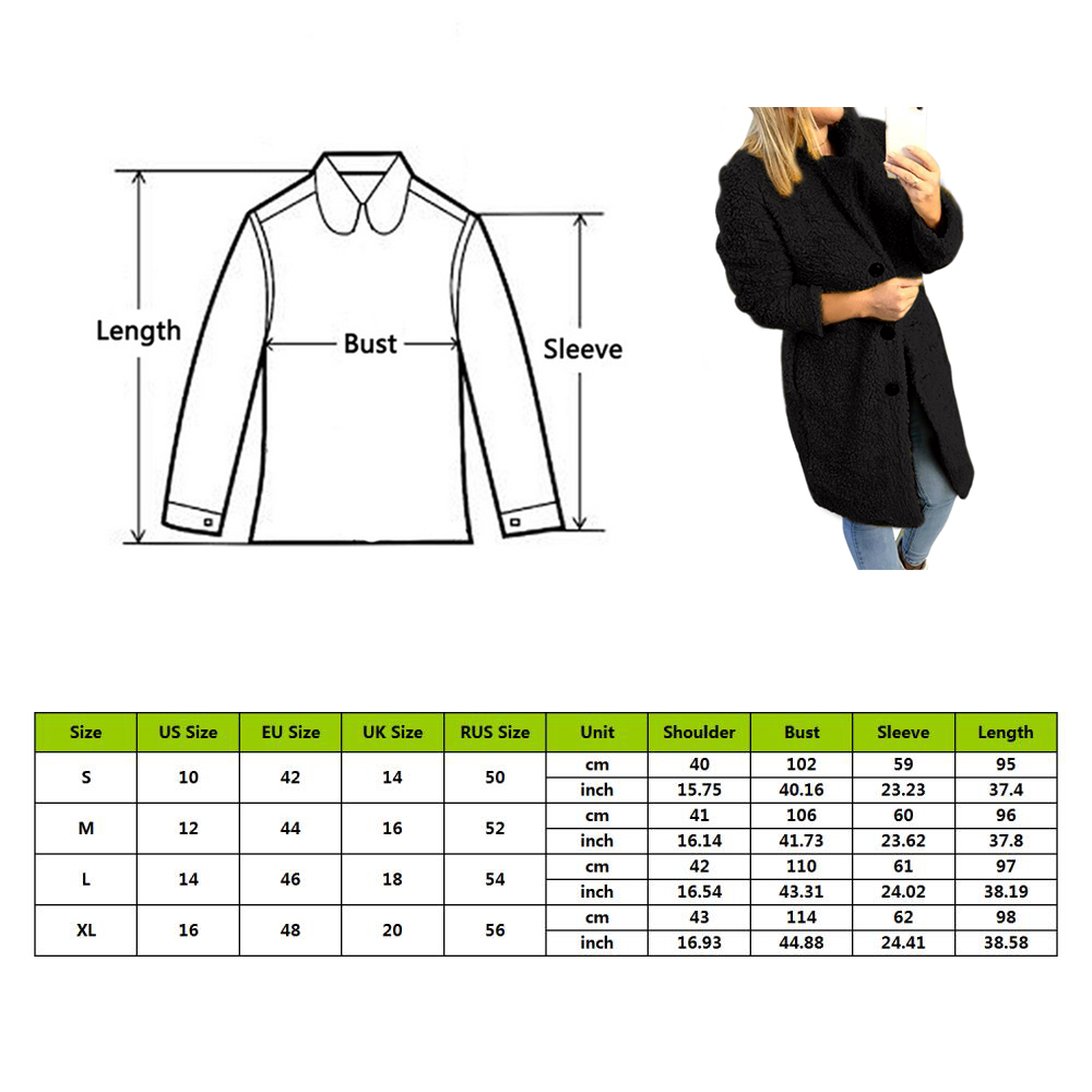 HEFLASHOR Women's Plush coat autumn winter Women Button Jacket Casual Warm turndown collar fur Outwear Mid-Length Woolen jackets 1