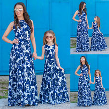Family Dress Mother and Daughter Matching Blue Floral Long Dress Women Kids Girl Sleeveless Casual Dresses new 2018 designer summer mother and daughter dress women sleeveless luxury crystal beading floral print casual mini short dress