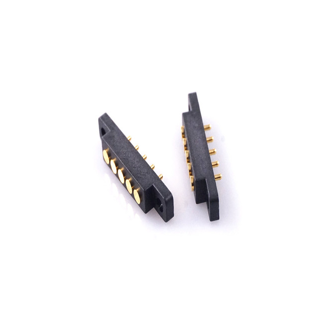10 Pairs Spring Loaded Pogo Pin 5 Pin Male & Female Contact Pad 2.54 mm Grid Through Hole With Flange Panel Mount Strip 2A 36VDC