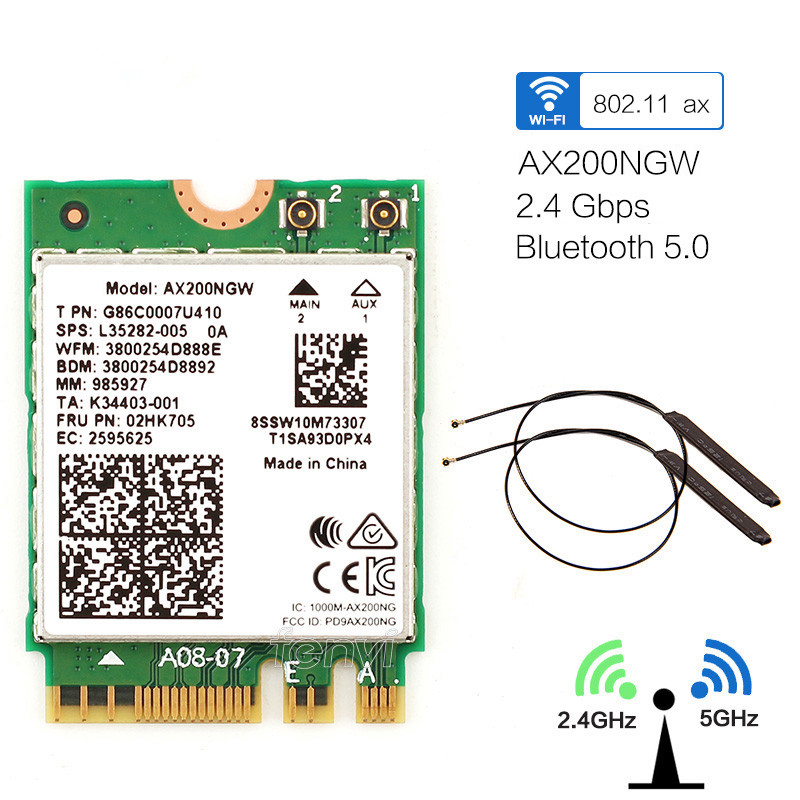 Dual Band 2974Mbps Wireless Network Card Wi-Fi 6 AX200NGW NGFF M.2 Wifi Bluetooth 5.0 With Built-in Antenna NGFF MHF4