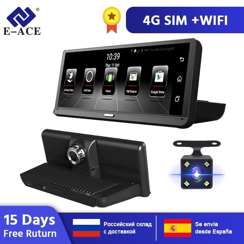 E-ACE E14 Auto DVRs 4G Android 8.0 Zoll Dash Cam 1080P Video Recorder GPS Navigation ADAS Dashcam Mit Hinten ansicht Kamera Auto Dvr