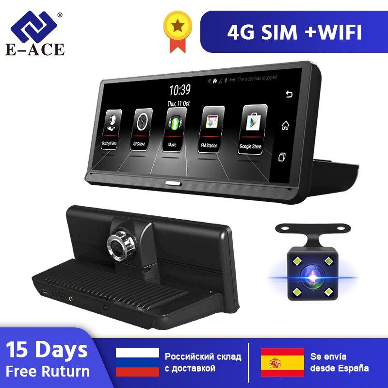 E ACE E14 Автомобильные видеорегистраторы 4G Android 8,0 дюймов видеорегистратор 1080P видео рекордер gps навигация ADAS Dashcam с камерой заднего вида авто Dvr