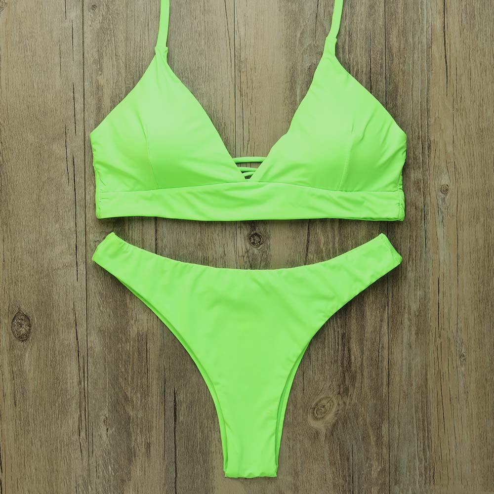Sexy Thong Bikinis Women 2019 Brazilian Swimsuit Solid Bathing Suit Strape Push Up Swimwear Female Mayo Beach Bathers 4