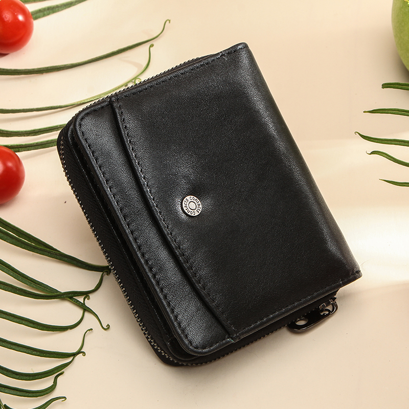 Contact's Genuine Leather Women Wallet Coin Purse For Girls Female Small Portomonee Lady Purse Money Bag Card Holder Mini Clutch