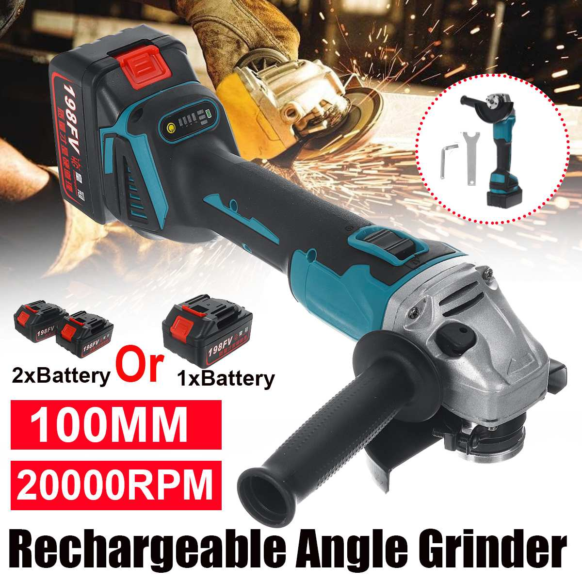 100mm brushless elétrico angle grinder máquina de