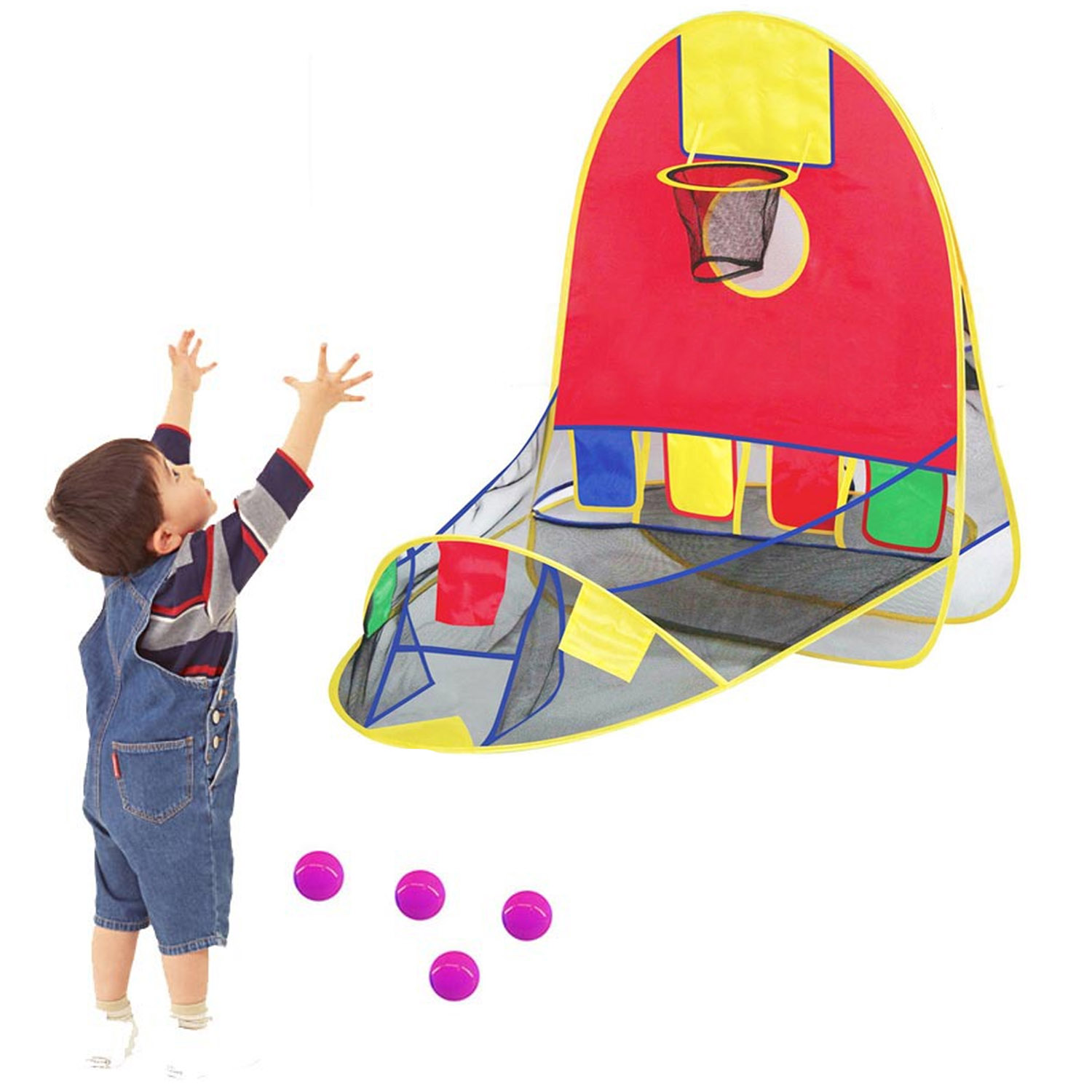 Foldable Pop Up Sport Goal Basketball Shooting Tent W/ 4 Balls For Kids Children Toys Gifts Indoor Outdoor Party Game Competiton