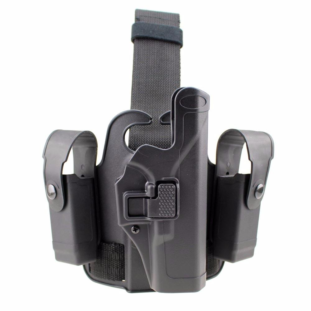 Tactique jambe pistolet Holsters titulaire pagaie goutte cuisse pistolet étui à main droite bouton pression Magazine torche poche pour Glock 17 19 22 - 3