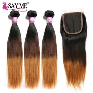 Image 2 - Ombre pacotes de cabelo reto com fechamento remy feixes de cabelo humano com fechamento do laço ombre cabelo peruano 3 pacotes com fechamento