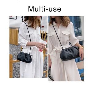 Image 2 - TTOU Fashion Elegant Clutch Evening Party Bag Women Big Ruched Pillow Bag Leather Korea Pouch Handbag White Black Bag Brand