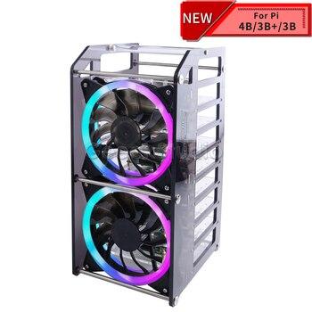 Rack Tower 8 Layer Acrylic Cluster Case Super Large Cooling Fan LED RGB Light for Raspberry Pi 4 B / 3 B + / 3 B / Jetson Nano