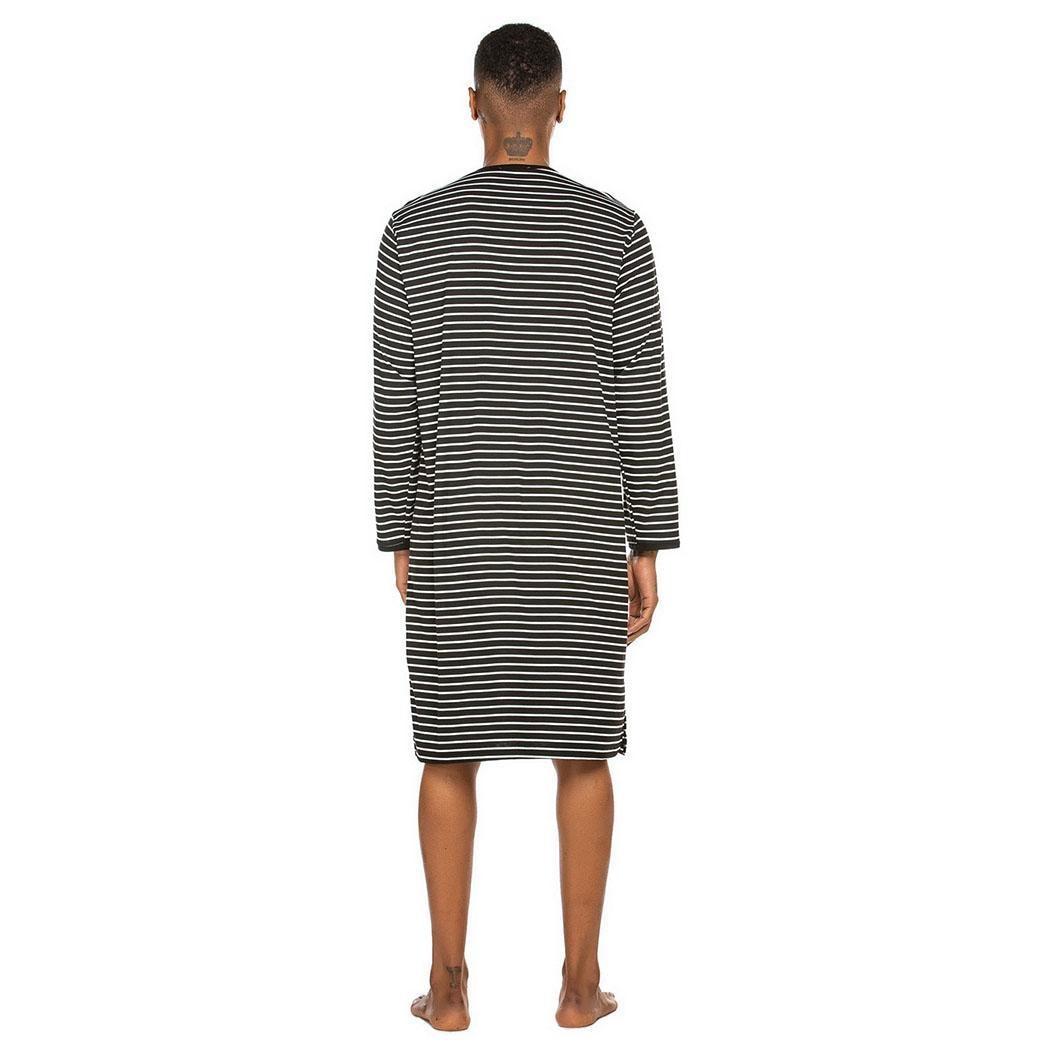 Men Casual Striped Long Sleeve O Neck None Sleepshirt Nightgown Nightwear, Knee Length Spring/Autumn Sleepwear