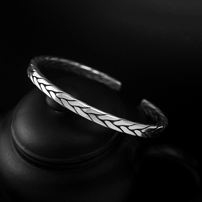 Bracelet viking torsion Rétro argent  1