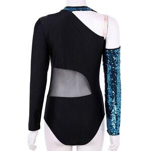 Image 4 - נשים מבריק פאייטים ארוך שרוולים רשת אחוי בלט התעמלות בגד גוף בלרינה רווה שלב ביצועים לירי ריקוד תלבושות