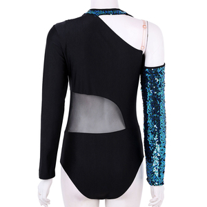 Image 4 - Women Shiny Sequins Long Sleeves Mesh Splice Ballet Gymnastics Leotard Ballerina Rave Stage Performance Lyrical Dance Costumes