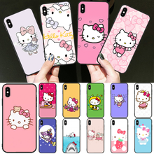 OFFeier Lovely pink Hello Kitty  Coque Shell Phone Case for iPhone 11 pro XS MAX 8 7 6 6S Plus X 5 5S SE XR cover black cover lovely cat for iphone x xr xs max for iphone 8 7 6 6s plus 5s 5 se super bright glossy phone case
