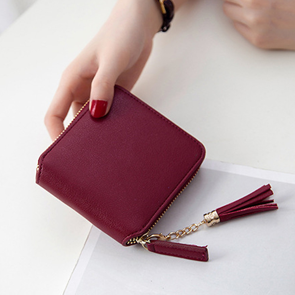 Fashion Women Wallet Square Zipper Tassel Coin Purse Short Wallet PU Leather Kawaii Cute Lady Female Bag Black Pink Wine Red