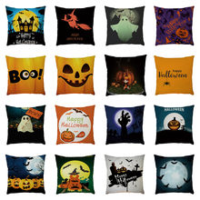 2019 Halloween Pillow Case Linen Pumpkin ghosts Cushion Cover Home Decoration Housse de Coussin Cojines Pillowcases Funda Cojin(China)