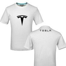 Футболка из хлопка с забавным логотипом Tesla, летняя повседневная футболка унисекс, футболки y
