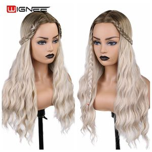 Image 5 - Wignee Ombre Long Wavy Heat Resistant Synthetic Wig For Women Black to Blond American Cosplay/Party Middle Part Natural Hair Wig
